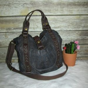 Lucky Brand Blue Brown Lamb Leather Hobo Crossbody